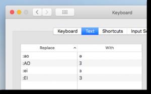 Configurazione sostituzione testo in MacOS